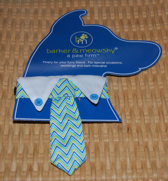 Fancy Dog Collar Small 13 14quot; Barker Meowsky 5quot; Neck Tie Blue White Lime Chevron $14.95