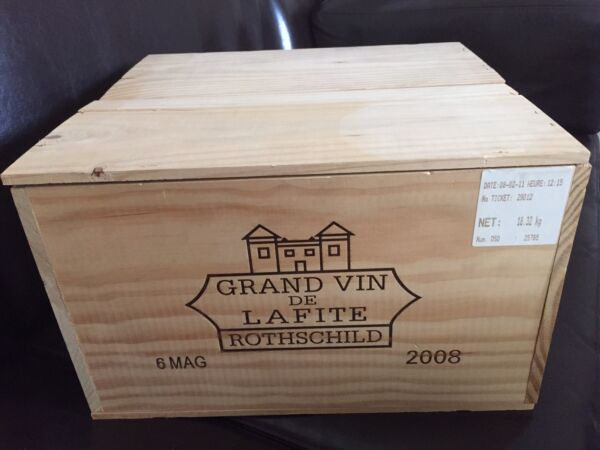 Lafite Rothschild 2008 Magnum First Growth OWC-Wooden Wine CaseBoxCratePanel