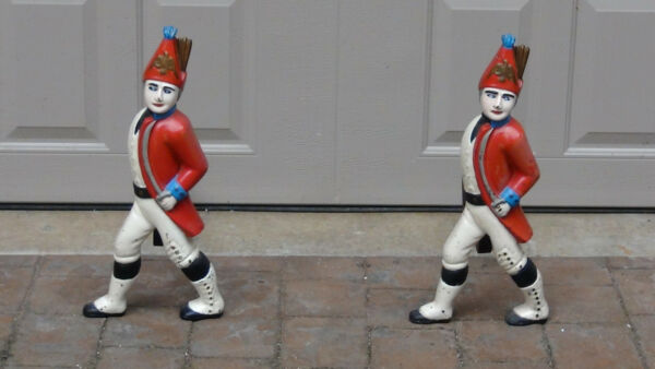 PAIR ANTIQUE HESSIAN CAST IRON PAINTED IN TRADITIONAL COLOR ANDIRONS WLOG BARS