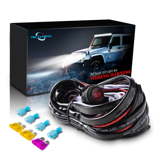MICTUNING Wiring Harness 40A Relay fuse Waterproof ON OFF switch LED Light Bar