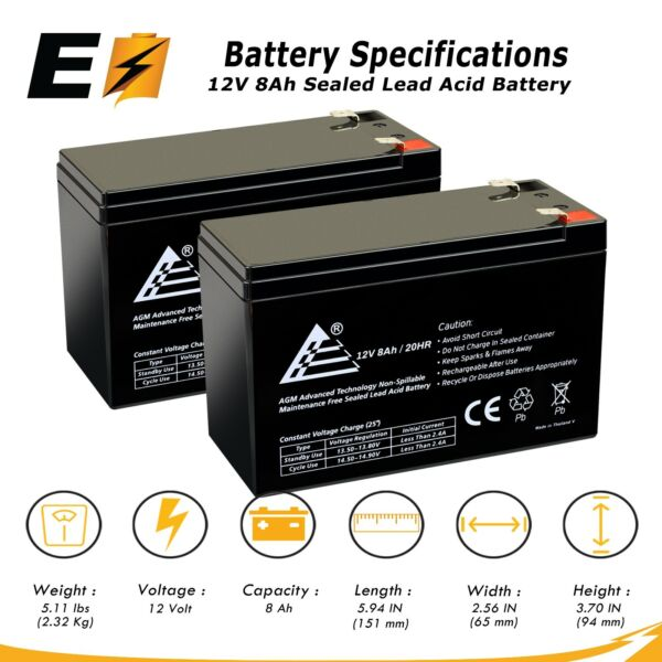 2 Pack 12V 8Ah Battery Replacement for APC Smart UPS 1000VA USB SER SUA10