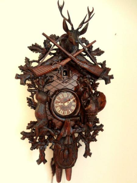 cuckoo clock black forest 8 day  german wood hunter carved mechanical new