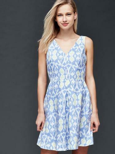 GAP Linen fit amp; flare dress NWT SZ 4 light blue print 1131A6 $29.99