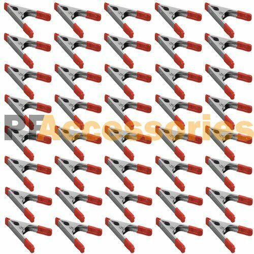 40x 4quot; inch Metal Spring Clamps w Rubber Tips Tool 40 Pcs Lot Steel Red amp; Black