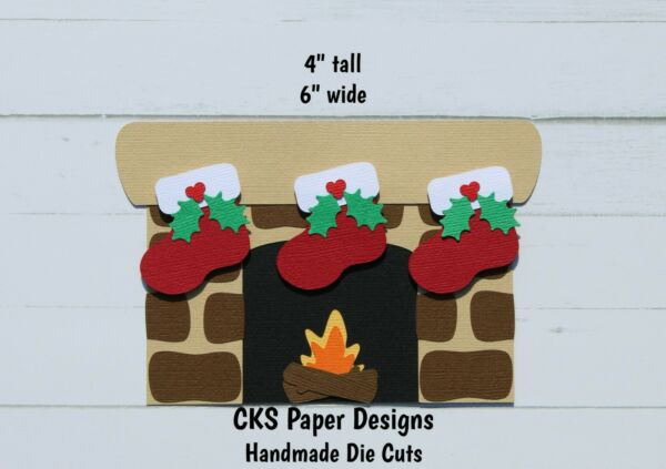 Die Cut Christmas Chimney Fireplace Santa Stockings Scrapbook Paper Piecing CKS