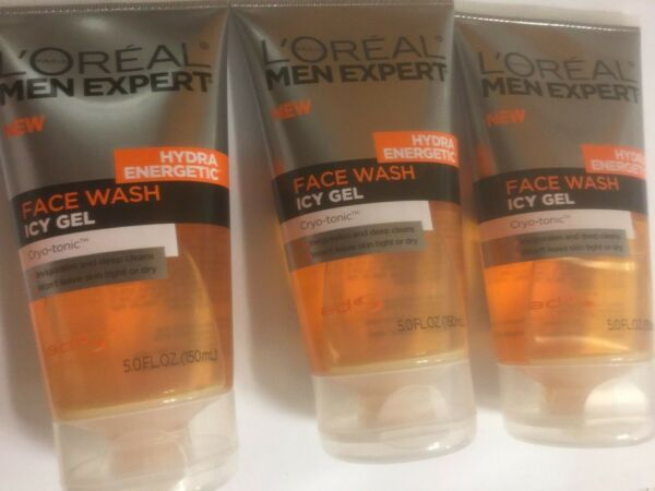 3 X L'Oreal Paris Men Expert Hydra Energetic Face Wash Icy Gel Cryo-Tonic 5fl oz