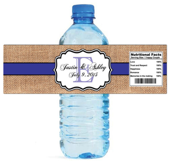 Burlap Purple Monogram Wedding Anniversary Engagement Party Water Bottle Labels