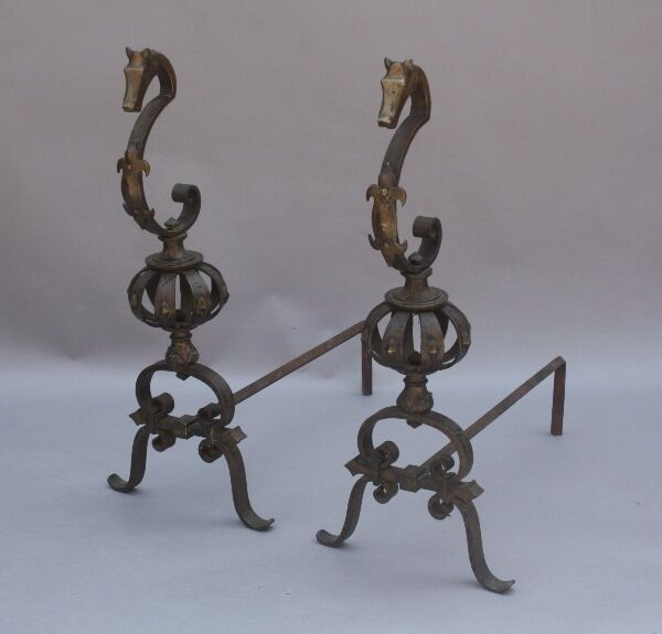 Pair 1920s Seahorse Andirons Oscar Bach Style Antique Fireplace Tools (9568)