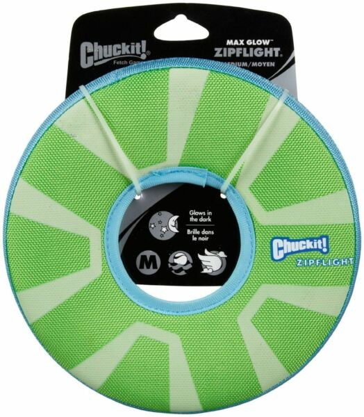Chuckit ZIPFLIGHT Dog Fetch Toy Max Glow In The Dark Frisbee Ring Rechargable MD