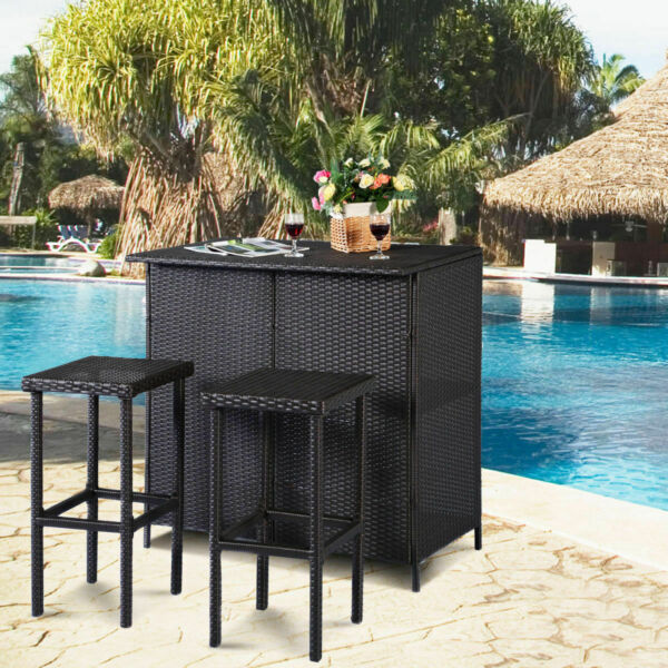 3PC Outdoor Rattan Wicker Bar Set Patio Outdoor Table amp; 2 Stools Furniture Brown $259.95
