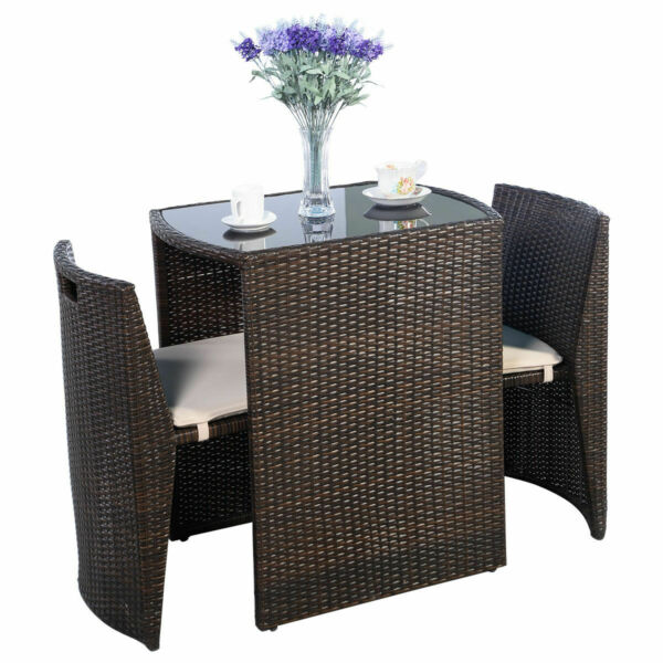 3 PCS Brown Cushioned Outdoor Wicker Patio Set Garden Lawn Sofa Furniture Seat $189.95