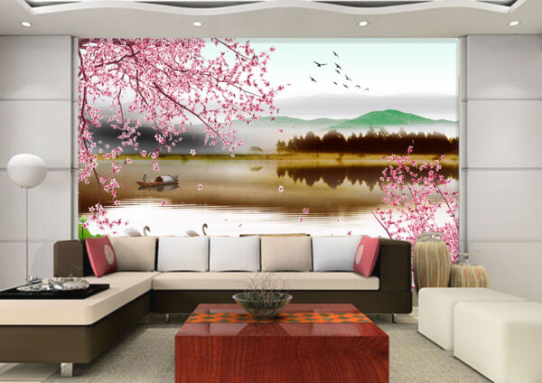 3D Cherry Tree River Boat  Wall paper Decal Dercor Home Kids Nursery Mural  Home