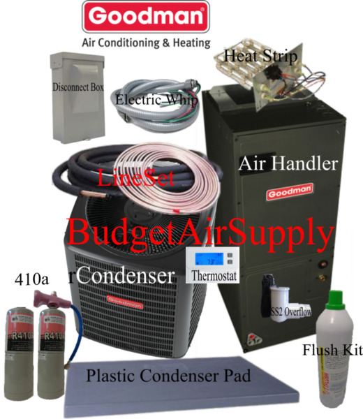 4 ton 16 SEER Goodman Heat Pump GSZ16048ASPT49DFLUSH410a50ft INSTALL KIT $3543.00