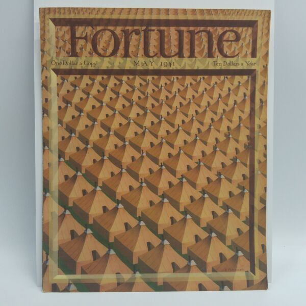 ORIGINAL 1941 MAY quot;FORTUNE MAGAZINE COVER ONLYquot; MILITARY TENTS ART PETRUCCELLI