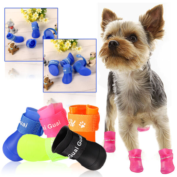 US 4Pcs Cat Dog Rain Protective Boots Waterproof Puppy Pet Shoes Boots Anti-Slip