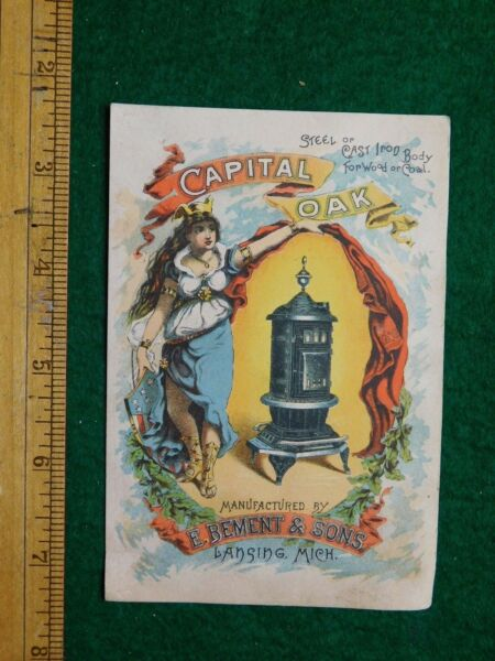 1870s 80s Capital Oak Cast Iron Wood Heating Stoves Victorian Trade Card F18 $11.47