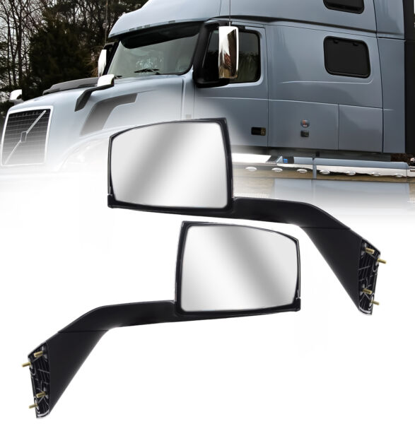 Volvo VNL Chrome Hood Mirror 2004 - 2016 Pair Side with Nuts & Mounting Plates