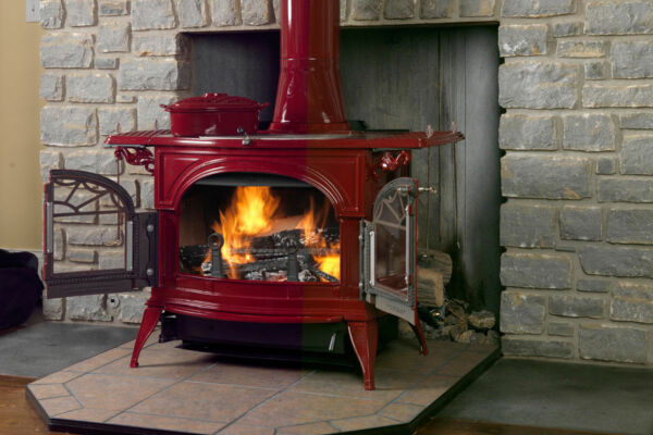 Vermont Castings Wood Stove Defiant Flexburn CastIron Free Standing Bordeaux Red
