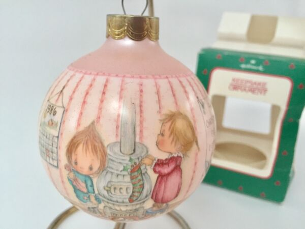 Betsey Clark 1986 Hallmark Glass Xmas Ornament Vtg Ball in Box Pink Wood Stove
