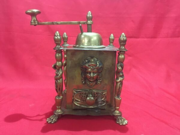 ANTIQUE VINTAGE BRONZE COFFEE GRINDER MILL HAND WINDING WITH STATUES