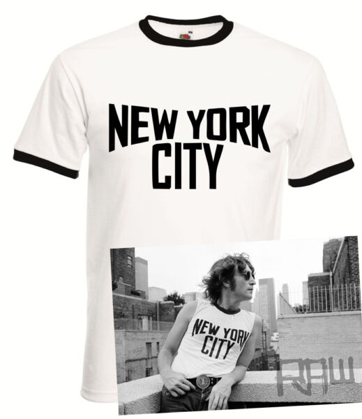 John Lennon Vintage Ringer Black and White New York City T-Shirt The Beatles