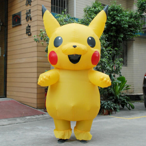 US SHIP Adult Mascot Pikachu Inflatable Costume Cosplay Halloween Funny Dress