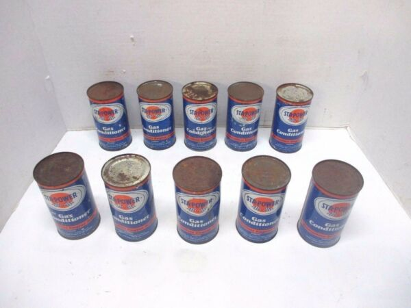 Lot of 10 STA POWER Gas Conditioner 12 Fl. Oz. Cans Service Station Advertising $75.00