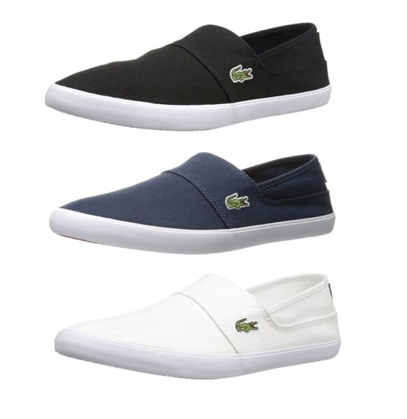 Lacoste Marice BL2 Men#x27;s Casual Canvas Loafer Shoes Sneakers Black Blue White $63.75