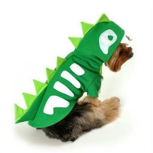Skeleton Dog Costume Dinosaur Dragon Hooded Pull Over. Green Spikes Size Small