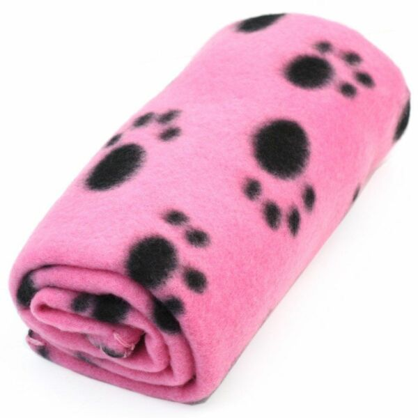Pet Dog Cat Puppy Kitten Soft Blanket Doggy Warm Bed Mat Paw Print Cushion Pink $3.99