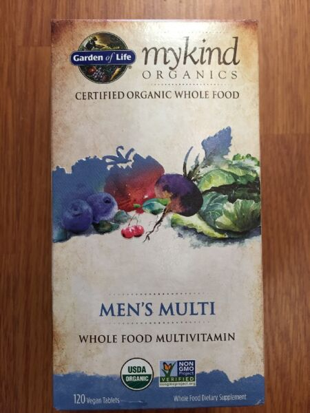 Garden of Life myKind Organics Men's Multi 120 Vegan Tablets whole food vitamin