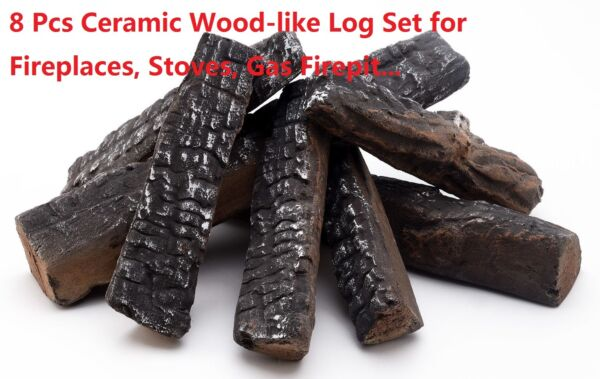 8 Piece Wood-like decorative Ceramic Log Set for fireplacesstoves gas firepit