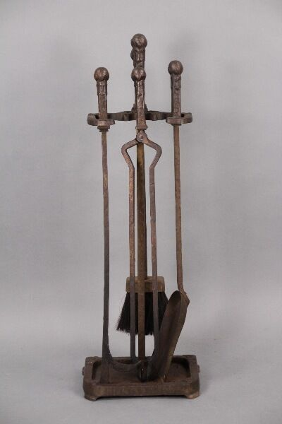 1910 Antique Fire Tool Set Vintage Fireplace Turn of the Century Hearth (10059)