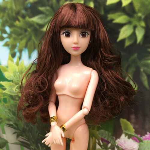 3D eye Brown Curly Hair joint naked doll body with head for barbie doll kid gift