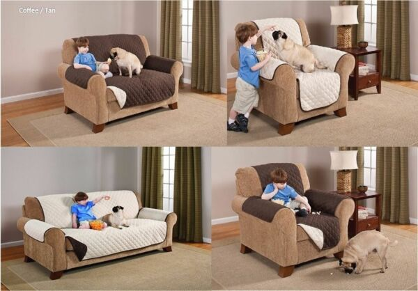 REVERSIBLE FURNITURE PROTECTORS for Kids and Pets Chair Love Seat Sofa w Straps $16.98