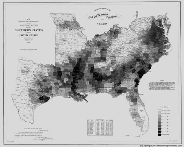1861 SLAVE MAP Metairie MInden Monroe Morgan City Moss Bluff Natchitoches LA BIG