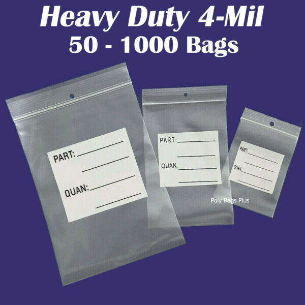 4-Mil Ziplock White Block PARTS# Bags w/Hanghole Tags Label Count Inventory