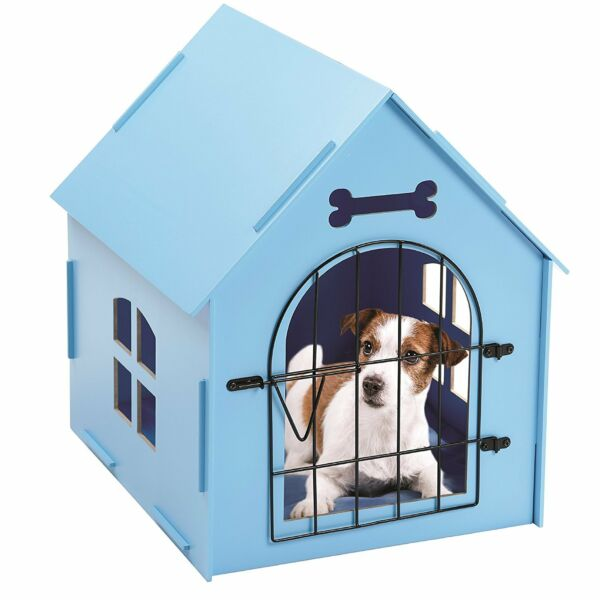 Wood Dog House Crate Indoor Kennel Small Dogs Cat Pet Home Doghouse Shelter Blue $52.99