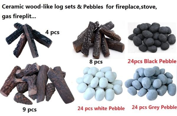 Wood-like Ceramic decorative Log for Fireplace stoves gas firepit Set 48 9pcs