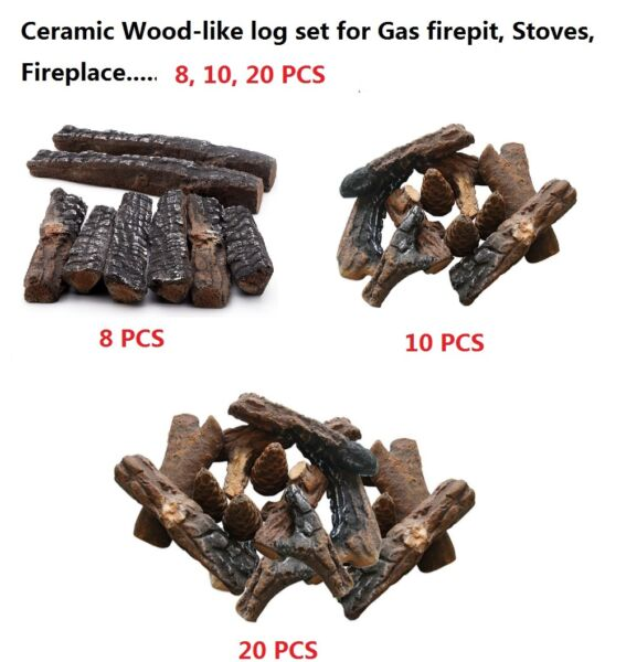 Fireplace stoves gas firepit Wood-like Ceramic decorative Log Set 81020pcs