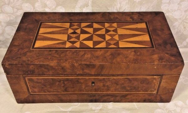 Antique Inlaid Wood Marquetry Jewelry Box Interior Removable Shelf w Mirror