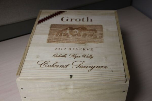 Very Rare Groth Reserve 2012 Cabernet Sauvignon Wood Wine Box or Crate