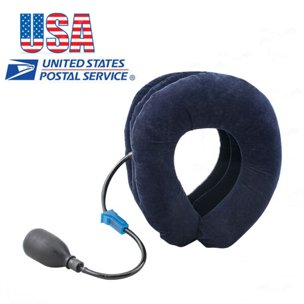 US Cervical Collar Neck Relief Traction Brace Support Stretcher Inflatable【SALE】