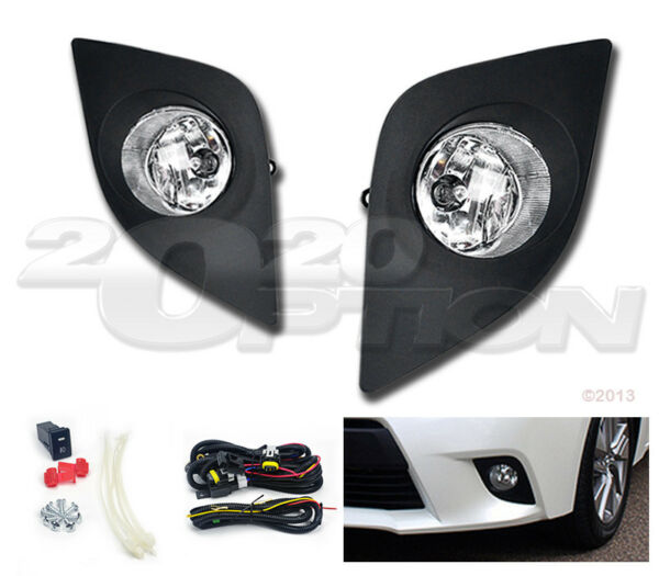 OE STYLE FOG LIGHTS PAIR CLEAR LENS LAMPS SWITCH WIRE FOR 14-16 TOYOTA COROLLA