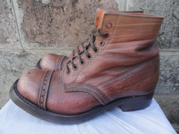 Men's Vintage Rustic Brown Leather Circa 1940's Cap-Toed Work Ankle Boots Sz-7.5