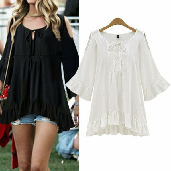 Summer Women Ruffle Hem Flounced Sleeve Cold Shoulder Tunic Shirt Tops Plus Size