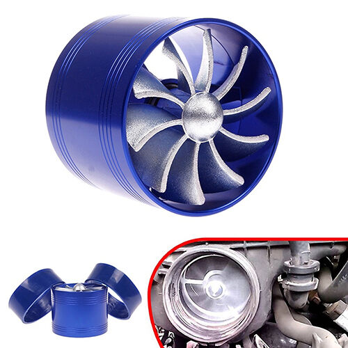 Blue Supercharger Turbonator Air Intake Booster Fuel Saver Turbo Charger Fan