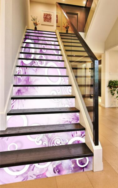 3D Circle Flowers Stair Risers Decoration Photo Mural Vinyl Decal Wallpaper US