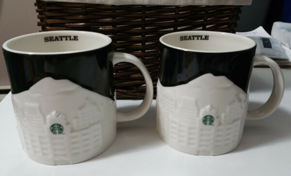 STARBUCKS 2012 Seattle City Relief Coffee Mug Set Cup 16 oz EUC Collector Mugs