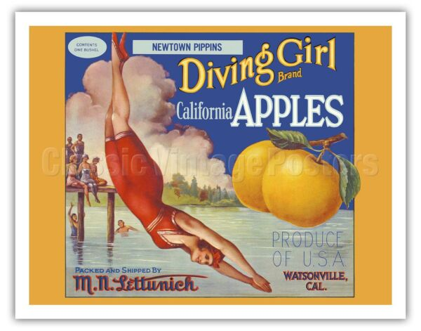 California Apples Diving Girl Vintage Fruit Crate Label Art Poster Print Giclée